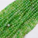 Cuentas de ágata natural hebras, facetados, teñido, redondo, verde lima, 4mm, agujero: 0.5 mm
