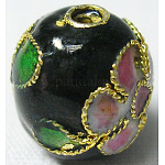 Handmade Cloisonne Beads, Round, Black, 10mm in diameter, hole: about 1.5mm