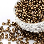 6/0 Glass Seed Beads, Metallic Colours, Red Copper, about 4mm in diameter, hole: 1mm, about 500pcs/50g