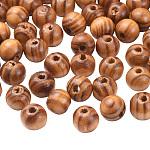 染色されていない天然木ビーズ, ラウンド, バリーウッド, 無鉛の, 10mm, 穴:3mm