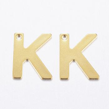 Encantos de 304 acero inoxidable, letter.k, dorado, 11x9x0.8mm, agujero: 1 mm