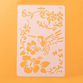 描画ツールプラスチック製図面型板テンプレート  長方形  花柄  ホワイト  25.5x17.4x0.04cm