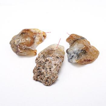 Природных драгоценных камней подвески, самородки, 40~60x23~40x6~13 мм, отверстие : 2 мм