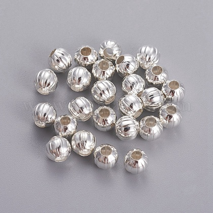 Hot DIY Silver Color Plated Corrugated Round Iron BeadsX-E185Y-S-1