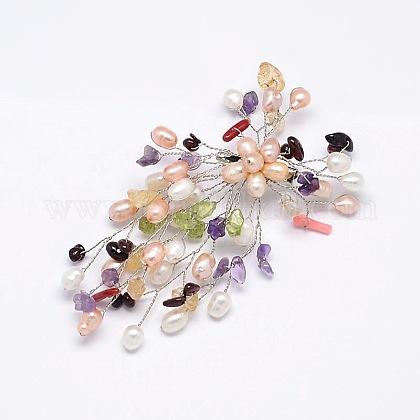 Broches de piedras preciosas de la florJEWB-E009-P19-09-1