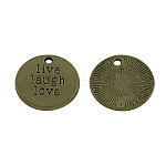 Tibetan Style Alloy Message Pendants, Flat Round Carved Word Live Laugh Love, Cadmium Free & Nickel Free & Lead Free, Antique Bronze, 20x2mm, Hole: 2mm