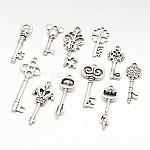 Mixed Tibetan Style Alloy Pendants, Key, Antique Silver, 28~46x9~16x1~4.5mm, Hole: 1.5~5mm; about 45~55pcs/100g