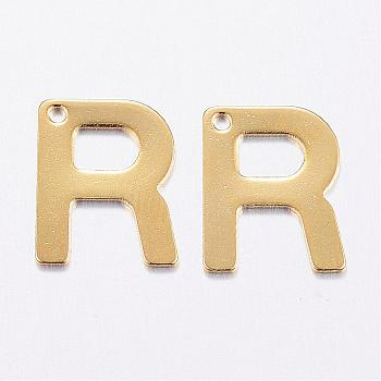 304 Stainless Steel Charms, Letter, Initial Charms, Letter.R, 11x6~12x0.8mm, Hole: 1mm