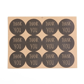 Self-Adhesive Kraft Paper Gift Tag Stickers, for Presents, Packaging Bags, Thank You Theme, Black, Sticker: 30mm; 1 Sticker/pc