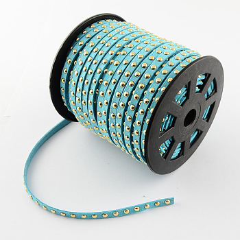 Faux Suede Cord, Faux Suede Lace, with Golden Alloy Rivet, for Punk Rock Jewelry Making, Sky Blue, 6x2.5mm; 50yards/roll(150 feet/roll)