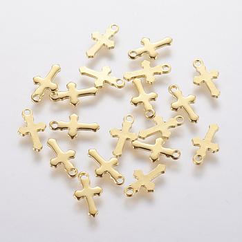 Encantos de 304 acero inoxidable, cruz, dorado, 12x7x1mm, agujero: 1.2 mm