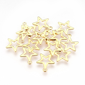 304 Stainless Steel Pendants, Star, Golden, 14.5x12.5x0.6mm, Hole: 1.2mm