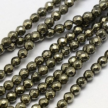 Natural Pyrite Beads StrandsG-L031-4mm-03-1