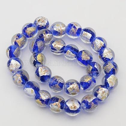 手作り金箔と銀箔のガラスラウンドビーズ連売りFOIL-L002-A-01-1