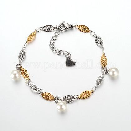 304 pulseras del encanto del acero inoxidableSTAS-O054-34-1