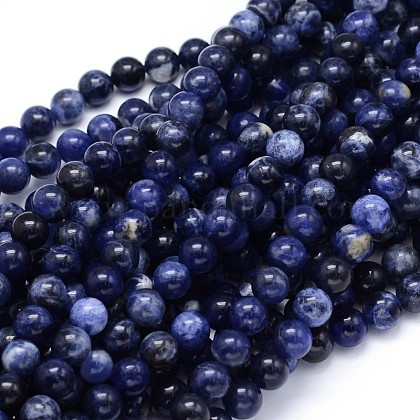 Round Natural Sodalite Beads Strands X-G-F222-39-8mm-1