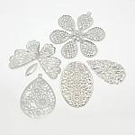 Mixed Iron Filigree Pendants Lightweight Jewelry Findings, Platinum, 20~70x7~60x0.2~1mm, Hole: 0.5~2.5mm