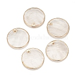 Electroplate Capiz Shell Pendants, for DIY Jewelry Making, Flat Round, Light Gold, 25x1~1.5mm, Hole: 1.2mm