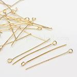 Iron Eye Pin, Light Gold, 70x0.7mm, Hole: 2mm