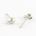 304 Stainless Steel Ball Post Stud Earring Findings, with Loop for Dangling Charms and 316 Stainless Steel Pins, Stainless Steel Color, 6x4x3mm, Hole: 1mm; Pin: 0.5mm