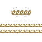 Brass Twisted Chains, Curb Chains, Diamond Cut, Soldered, with Spool, Oval, Lead Free & Nickel Free & Cadmium Free, Golden, 1.5x1x0.35mm; about 92m/roll