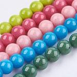 Chapelets de perles en jade Mashan naturel, teinte, ronde, couleur mixte, 6mm, trou: 1mm; environ 68 pcs/chapelet, 16