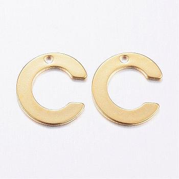 Encantos de 304 acero inoxidable, carta, encantos iniciales, letter.c, 11x6~12x0.8mm, agujero: 1 mm