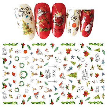 Self Adhesive Nail Art Stickers, DIY Nail Art Decoration, Christmas Theme, Colorful, 13x8cm