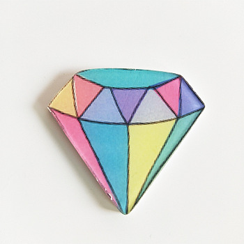 Colorful Acrylic Safety Brooches, with Iron Pin, Diamond, Colorful, 37x40x8.5mm; Pin: 0.7mm