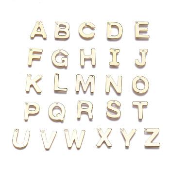 304 Stainless Steel Charms, Alphabet, Golden, Letter A~Z, 11x6~12x0.8mm, Hole: 1mm; 26pcs/set