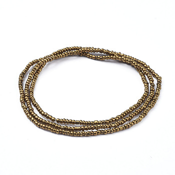 Dark Goldenrod Glass Seed Beads Chain Belts, with Korean Elastic Crystal Thread, for Waist Beads Body Jewelry, Beaded Necklace, Wrap Bracelet, Hair Decoration, Dark Goldenrod, 31.5 inches(80cm)