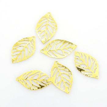 Лист железа подвески, травленые металлические украшения, золотые, 23.5x14x0.4 мм, отверстие : 1 мм