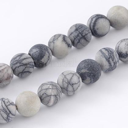 Round Frosted Natural Black Silk Stone/Netstone Bead StrandsG-M248-8mm-03-1