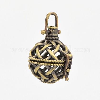 Brass Hollow Cage PendantsKK-P141-12-1