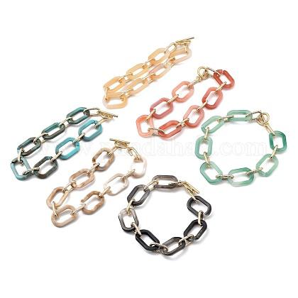 Pulseras de cadena de cable de acrílico y aluminioBJEW-JB05425-1