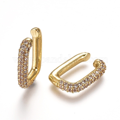 Brass Micro Pave Cubic Zirconia Cuff EarringsEJEW-L234-55A-G-1