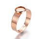 Componentes de anillos de dedo de 304 acero inoxidable ajustables, fornituras base de anillo almohadilla, plano y redondo, oro rosa, Bandeja: 6 m; 18 mm