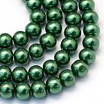 Abalorios de abalorios redondas de abalorios de vidrio perlado pintado para hornear, verde, 8~9mm, agujero: 1 mm; aproximamente 105 unidades / cadena, 31.4