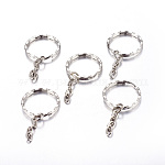 Llaveros divididas de hierro, Fornituras de cierre de llavero, Platino, anillo: 25x2.5 mm, diámetro interior: 21 mm