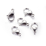 304 Stainless Steel Lobster Claw Clasps, Manual Polishing, Size: about 12mm wide, 19mm long, 4.5mm thick, hole: 2mm