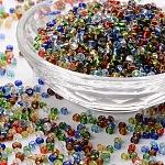 8/0 Perlas de semillas de vidrio, plata forrada agujero redondo, redondo, color mezclado, 3mm, agujero: 1 mm; aproximadamente 10000 abalorios / libra