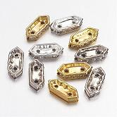 Brass Middle East Rhinestone Bridge Spacers, Hexagon, Mixed Style, Mixed Color, 11x4.5x2.5mm, Hole: 1mm