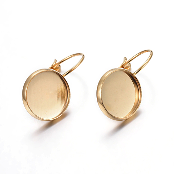 304 Stainless Steel Leverback Earring Settings, Flat Round, Golden, Tray: 12mm; 21x14x11mm; Pin: 0.7mm