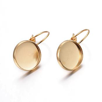 304 bases pendiente leverback de acero inoxidable, plano y redondo, dorado, Bandeja: 12 mm; 21x14x11 mm; pin: 0.7 mm