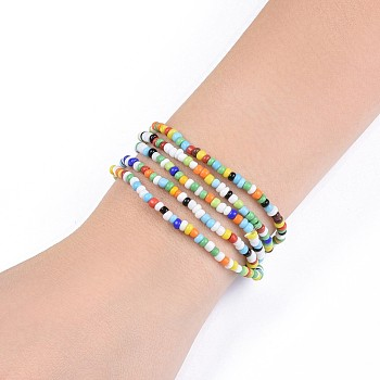 Colorful Glass Seed Beads Chain Belts, with Korean Elastic Crystal Thread, for Waist Beads Body Jewelry, Beaded Necklace, Wrap Bracelet, Hair Decoration, Colorful, 31.5 inches(80cm)