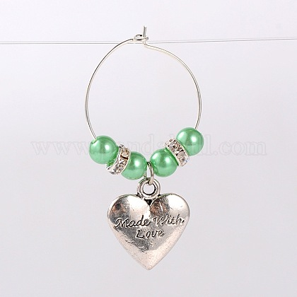 Tibetan Style Heart with Word Made With Love Wine Glass Charms AJEW-JO00009-03-1