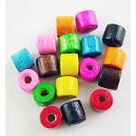 Mixed Natural Wood Column Beads, Lead Free, Dyed, 5x4mm, Hole: 2mm