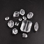 Transparent Acrylic Beads, Faceted, Mixed Style, Clear, 14~45x7~33x7~20mm, Hole: 2~3mm
