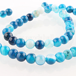 Natural Gemstone Agate Round Bead Strands, Dyed, DeepSkyBlue, 6mm, Hole: 1mm; about 63pcs/strand, 15.35