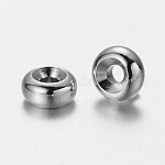 Brass Spacers, Rondelle, Platinum, 6x3mm, Hole: 1.5mm